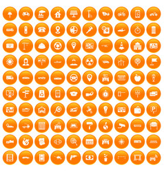 100 car icons set orange vector