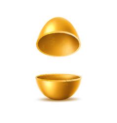 3d golden egg halves with sliced eggshell vector
