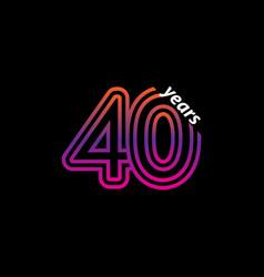 40 years anniversary celebration line color retro vector