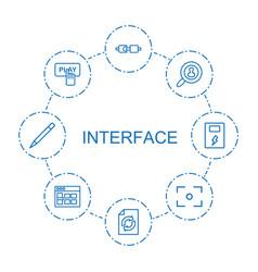 8 interface icons vector image
