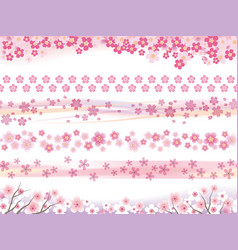 a set of six seamless cherry blossoms patterns vector image
