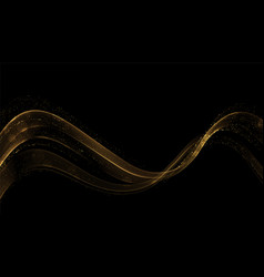 Abstract gold waves shiny golden moving lines vector
