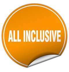 All inclusive round orange sticker isolated on vector