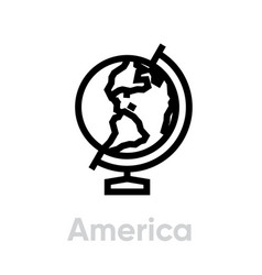 America globe on a stand icon editable line vector