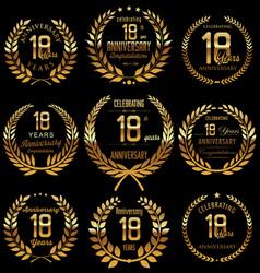 Anniversary golden laurel wreath collection 18 vector