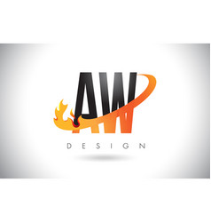 Aw a w letter logo with fire flames design and vector