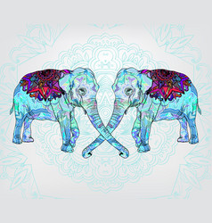 background with decorative floral elephants vector image