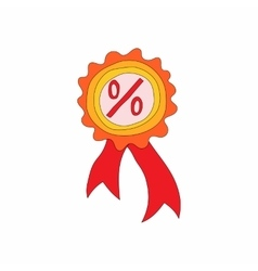Badge with percent sign icon cartoon style vector