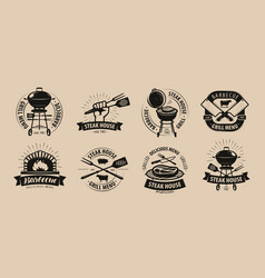 Bbq barbecue grill logo or icons labels for the vector