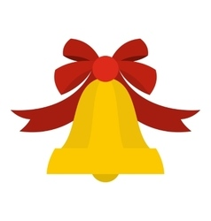 Bell with red bow icon flat style vector image