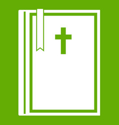 bible icon green vector image