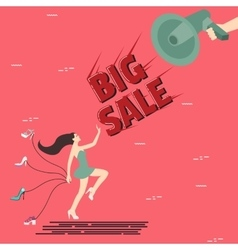 Big sale woman girl female shoes shout speaker vector