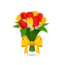 Bouquet of red yellow tulip with a yellow bow vector image