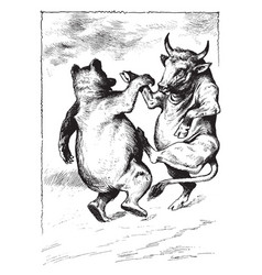 Bull and cow dancing whole life vintage engraving vector