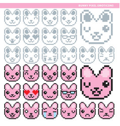 bunny pixel emoticons converted vector image