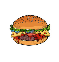 burger isolate on white background vector image
