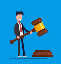 Business man or manager hold in hands gavel vector