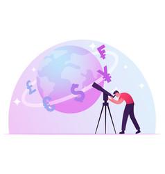 businessman learn worldwide economics and exchange vector image