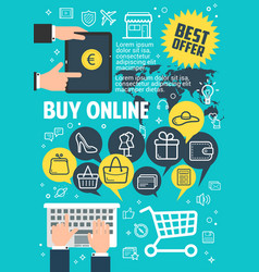 buy online poster for internet shopping concept vector image