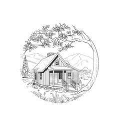 Cabin hand drawn vector