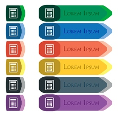 Calculator icon sign Set of colorful bright long vector image