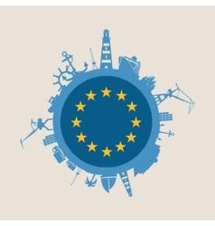 Cargo port relative silhouettes Europe flag vector