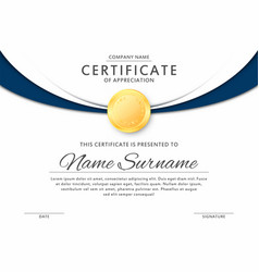 certificate template in elegant black and blue vector image