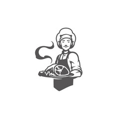chef man holding meat dish silhouette vector image