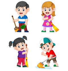 children doing the daily house activities vector image