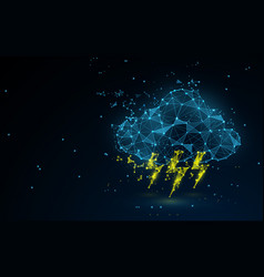 cloud with thunders icon from lines and particle vector image