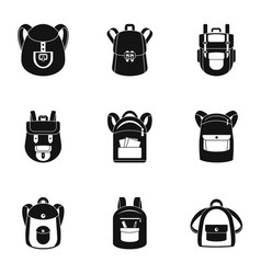 College backpack icon set simple style vector