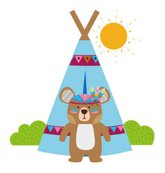 colorful ethnic bear with camp and bushes plants vector image
