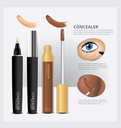Concealer cosmetic package with face makeup vector