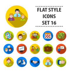 conference and negetiations set icons in flat vector image