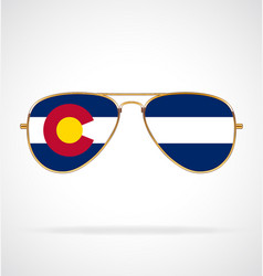 Cool gold aviator sunglasses with colorado co flag vector