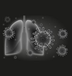 coronavirus and human lungs vector image