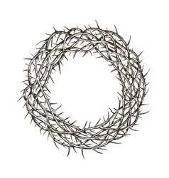 Crown of thorns sketch hand drawn vintage vector