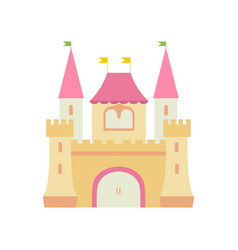 cute fairytale medieval castle fortress colorful vector image