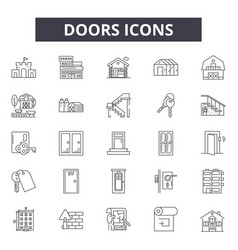 doors line icons signs set outline vector image
