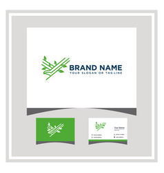 Eagle leaf logo design with a business card vector