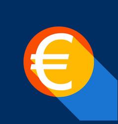 euro sign white icon on tangelo circle vector image