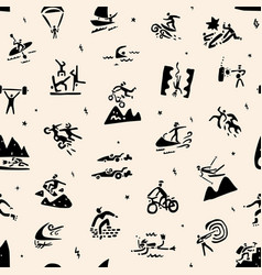 Extreme sports seamless background doodle vector