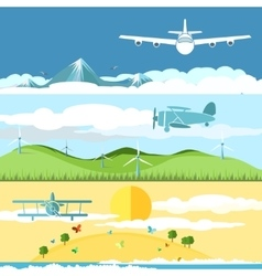 Flat banners with airplanes and landscape vector image