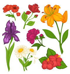 Flowers blooms flat isolated icons set vector
