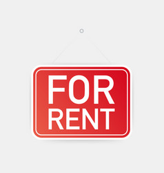 for rent hanging sign on white background sign vector image