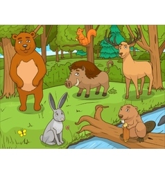 Forest cartoon animals educational game vector image
