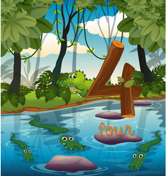 Four crocodile in the pond vector