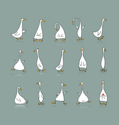 Funny goose set sketch for your design vector