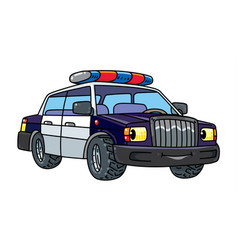 Funny small police car with eyes vector