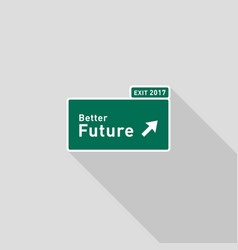Future highway road sign direction flat design vector